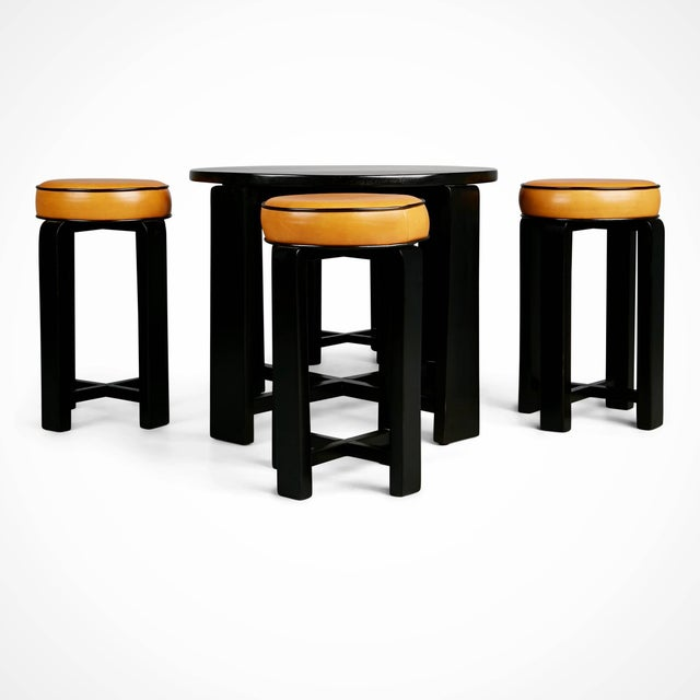 1940s 1940s French Art Deco Cocktail Nesting Table and Leather Stools Set For Sale - Image 5 of 11