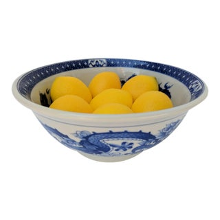 Vintage Chinoiserie Blue and White Decorative Bowl With Faux Lemons For Sale
