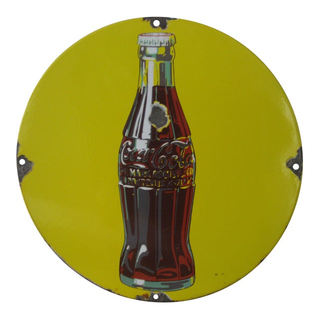 Antique Coca-Cola Porcelain Sign For Sale