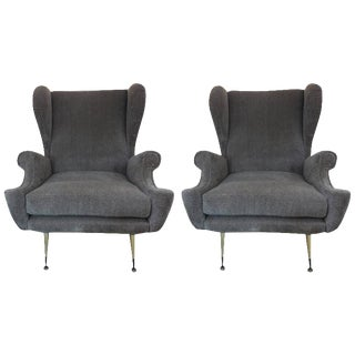 Mid Century Gio Ponti Inspired Italian Lounge Chairs-A Pair For Sale