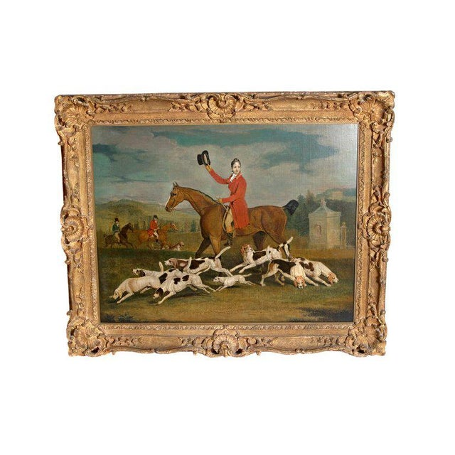19th Century Oil on Canvas English Hunting Scene of Rider on Horse With Hounds For Sale - Image 13 of 13