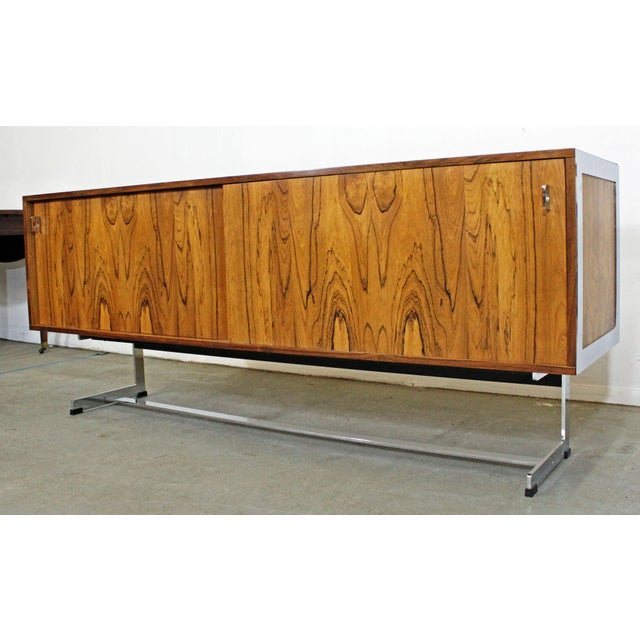Danish Modern Mid-Century Modern Richard Young Merrow Assoc. Rosewood Chrome Credenza For Sale - Image 3 of 12