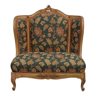 Vintage French Provincial Louis XVI Rococo Ornate Gold Floral Settee W Red Plaid For Sale