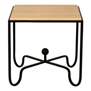Wrought Iron and Travertine 'Entretoise' Side Table by Design Frères For Sale