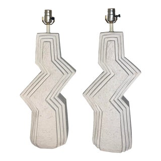 1980's Post Modern Zig Zag Plaster Lamps by Ziggurat - a Pair For Sale