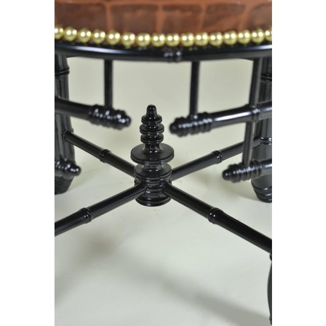 1940s Regency Style Faux Bamboo Stool with Leather Cover For Sale - Image 5 of 7