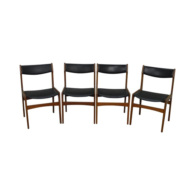 Danish Modern Teak & Black Leather Dining Chairs - Set of 4 For Sale - Image 11 of 11