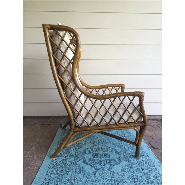 Rattan Wingback Chair & Ottoman - Image 4 of 5