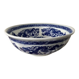 Chinoiserie Blue & White Large Bowl For Sale