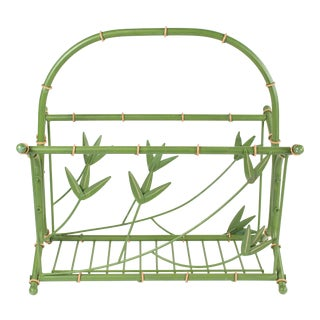 1960s Vintage Green Faux Bois Bamboo Magazine Holder For Sale