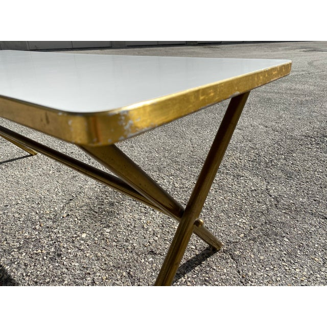 Brass X Frame Cofee Table For Sale - Image 4 of 9