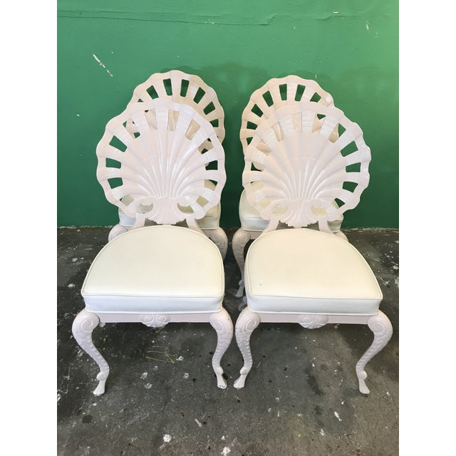 Vintage Palm Beach Regency Pink Brown Jordan Grotto Shell Back Chairs-Four For Sale - Image 13 of 13