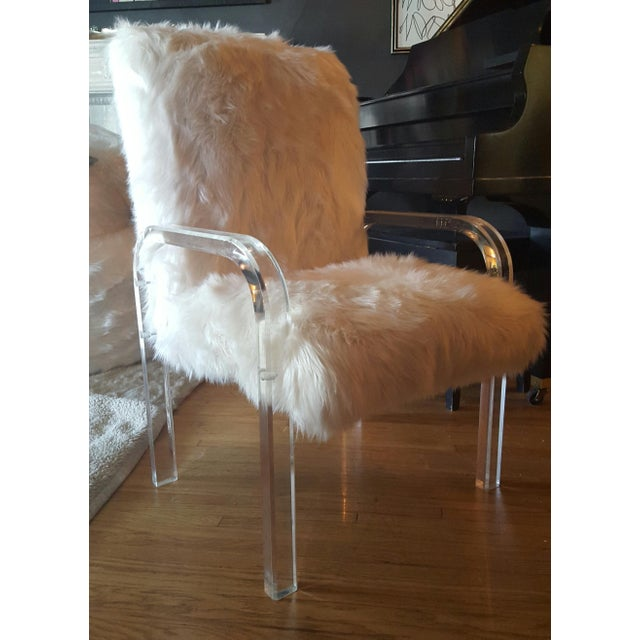 1970's Vintage Faux Fur & Lucite Chairs - Set of 4 - Image 2 of 5
