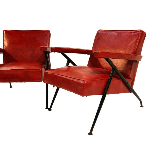 Viko Baumritter Red Lounge Chairs - a Pair - Image 3 of 10