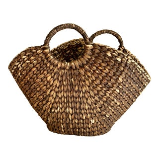 Boho Rustic Braided Rope Basket or Market Tote For Sale