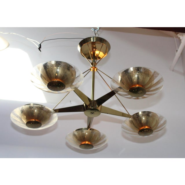 Gerald Thurston for Lightolier Brass and Glass Chandelier For Sale - Image 12 of 13