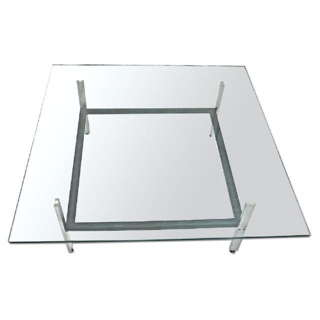 This Exquisite Modernist Poul Kjaerholm Brushed Steel And Glass Top Coffee Table Is A Real Beauty