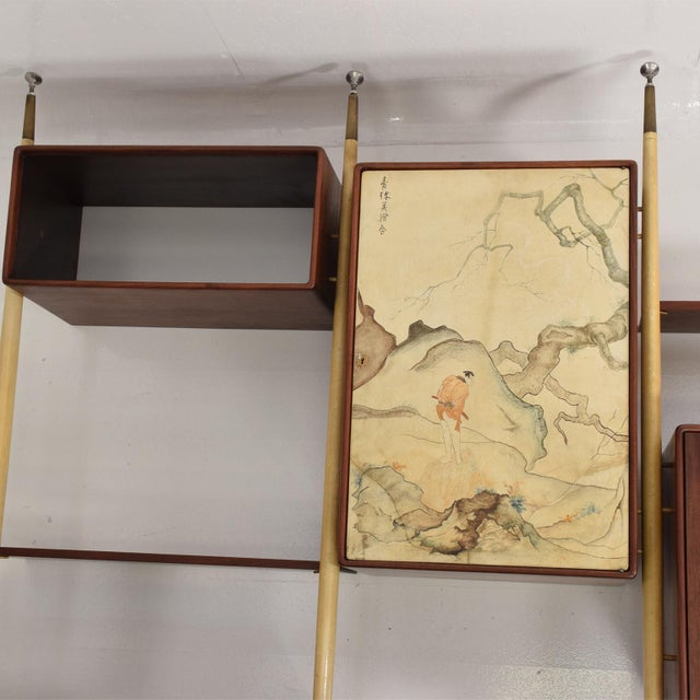 Eugenio Escudero Monumental Mexican Modernist Wall Unit in Solid Mahogany and Goatskin For Sale - Image 4 of 12