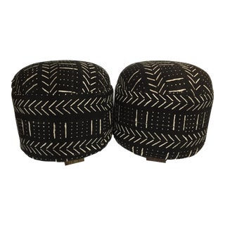 "LG Black & white Mud cloth Ottomans /Pair 17.5"" H"