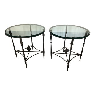 Iron and Glass Round Side End Tables With Fleur DI Lis Finials - a Pair For Sale