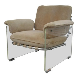 1970s Vintage Argenta Lucite and Suede Club Chair For Sale