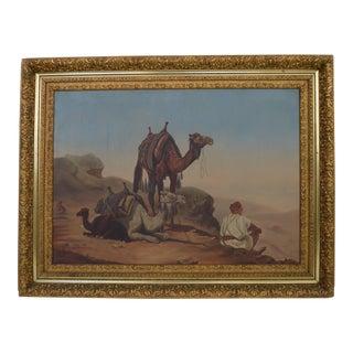 Antique Arabian Caravan Orientalist Landscape Oil Painting With Camels by Dutch Artist N. Hals - Vintage Mid 20th Century MCM Pink Millennial