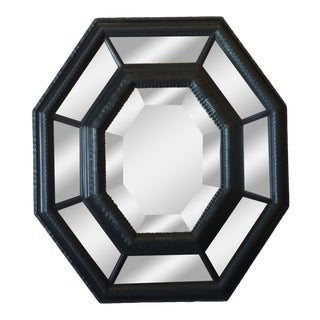 Octagonal Carved Ebonized Mirror For Sale