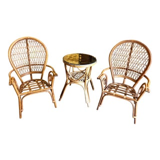 1960s Vintage Rattan Chair and Table Set- 3 Pieces For Sale