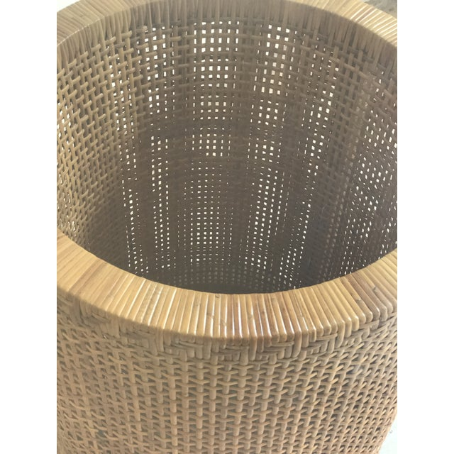 Vintage Contemporary Rattan & Glass Top Table For Sale - Image 4 of 4