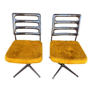 Chromcraft Swivel Chairs- A Pair For Sale