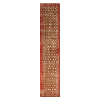 """Vintage Mid-Century Red and Brown Wool Runner-2'1'x8'11"""" For Sale"""