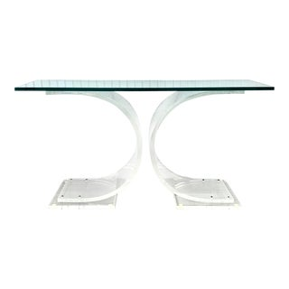 1970s Karl Springer Style Lucite Console For Sale
