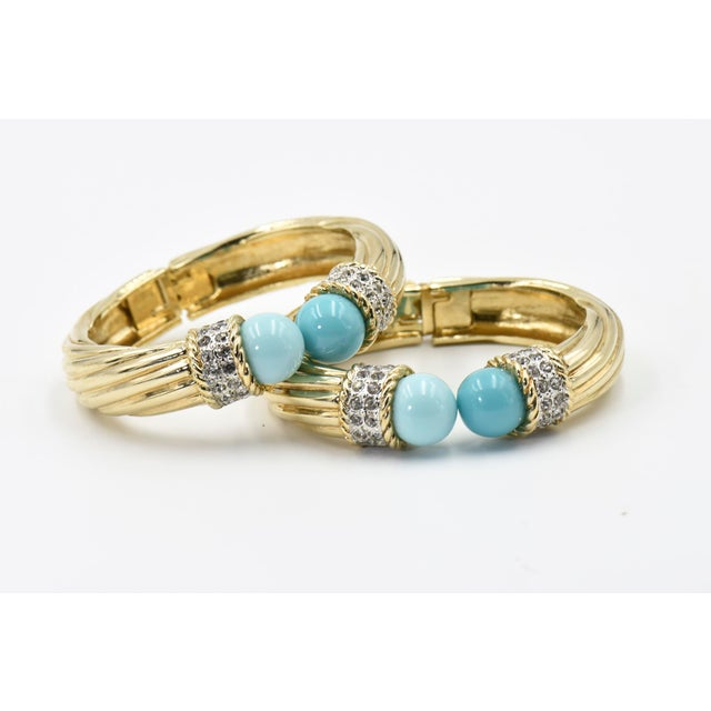 Italian Costume Turquoise Crystal Gold Plated Bangle Bracelets For Sale - Image 4 of 8