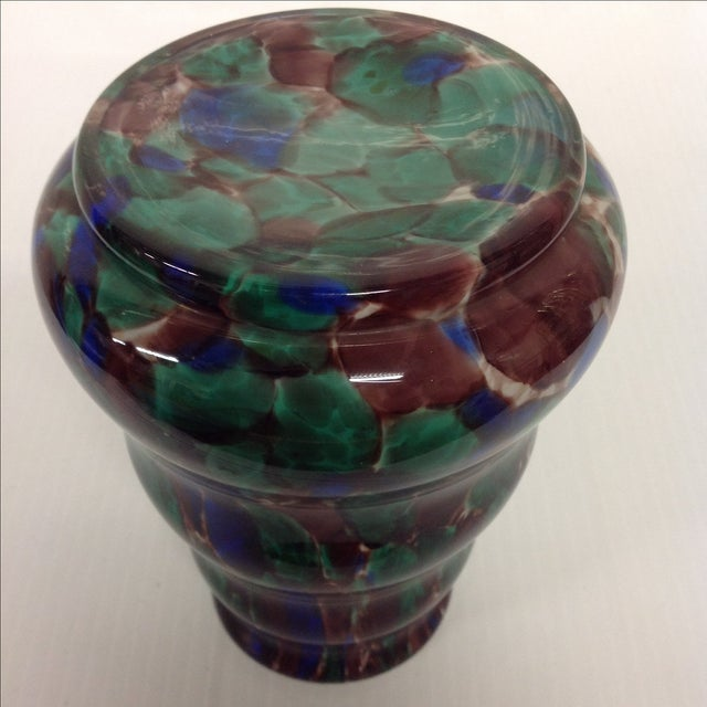 Kralik Austria Cased Spatter Glass Vase For Sale - Image 5 of 5