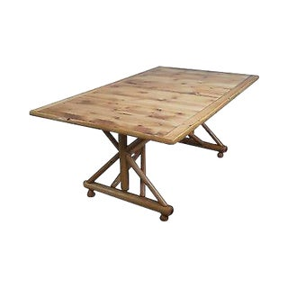 Old Hickory Shelbyville Indiana Large Rustic Trestle Dining Table For Sale