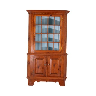 Country Pine Hand Crafted 2 Piece Corner Cabinet For Sale