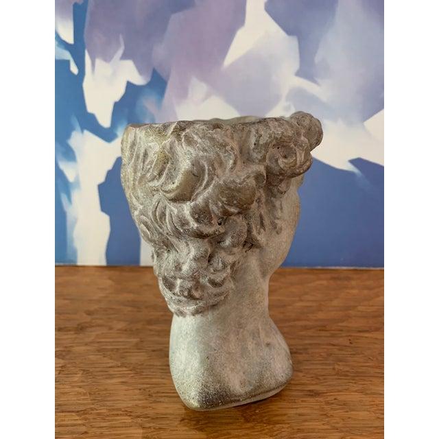 Abstract Modern Cast Composite Concrete Stone Face Planter Head Vessel Vase For Sale - Image 3 of 13