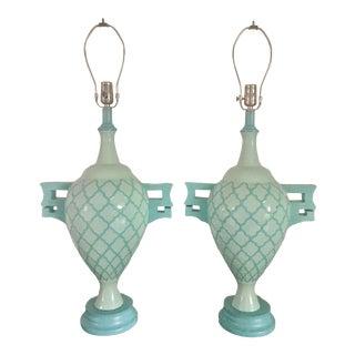 1960s Blue Vintage Lamps - a Pair For Sale