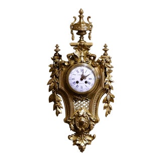 19th Century French Louis XVI Bronze Dore Cartel Wall Clock Signed Charpentier For Sale