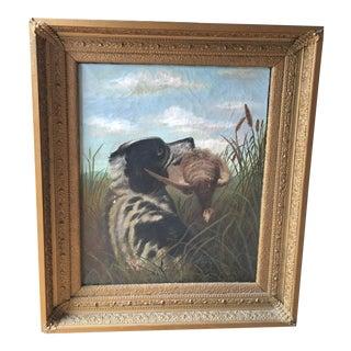 Vintage Original Dog Oil Painting For Sale