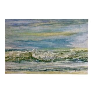 """Nautical Nancy Smith Original Watercolor Seascape, """"Eventide"""" For Sale"""