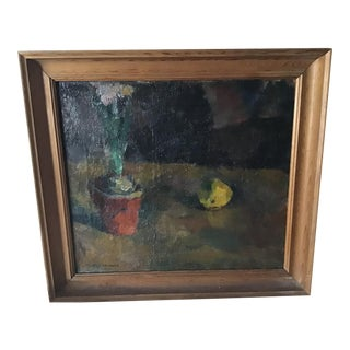 Vintage Floral Still Life Painting on Canvas of Hyacinth and Lemon, Signed For Sale