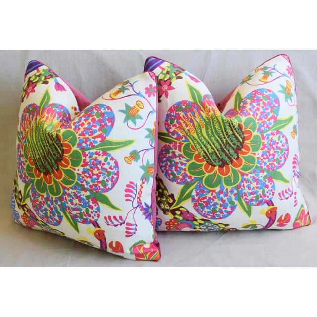 "Designer Josef Frank Floral Linen & Velvet Feather/Down Pillows 21"" Square - Pair For Sale - Image 9 of 13"