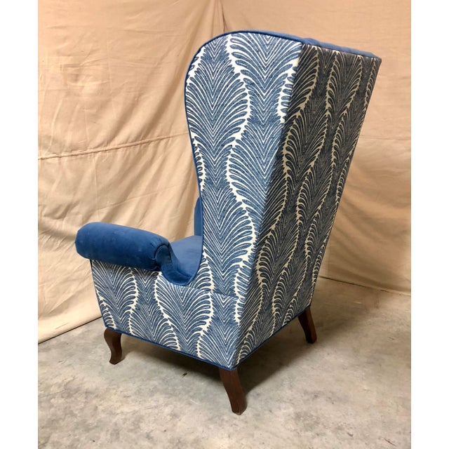 Henredon Blue Wingback Chairs - A Pair For Sale - Image 4 of 8