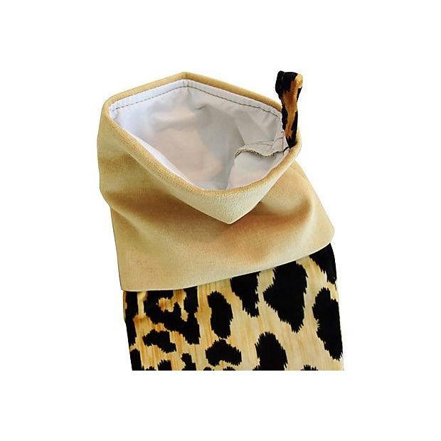African Boho Chic Custom Velvety Leopard Christmas Stocking For Sale - Image 3 of 5