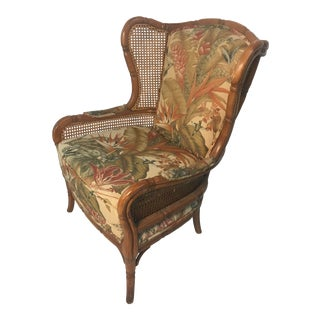 Vintage Cane Wingback For Sale
