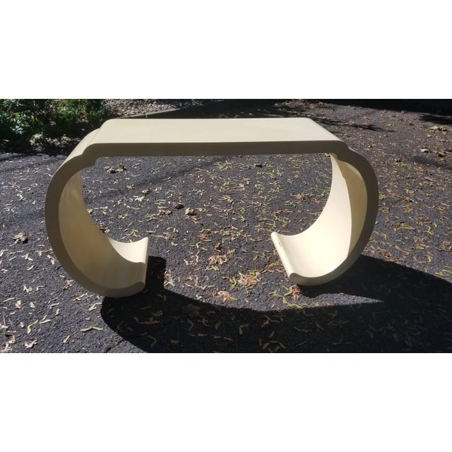 1980's Scrolled Ecru Lacquer Console Table/ Style of Karl Springer For Sale - Image 10 of 10
