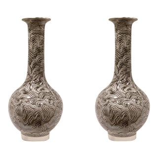 John Richard Modern Black and White Marble Finished Vases - a Pair For Sale