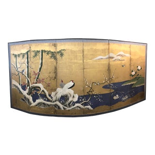 Late 18th Century Antique Japanese Edo Period Gold Leaf Silk Screen For Sale