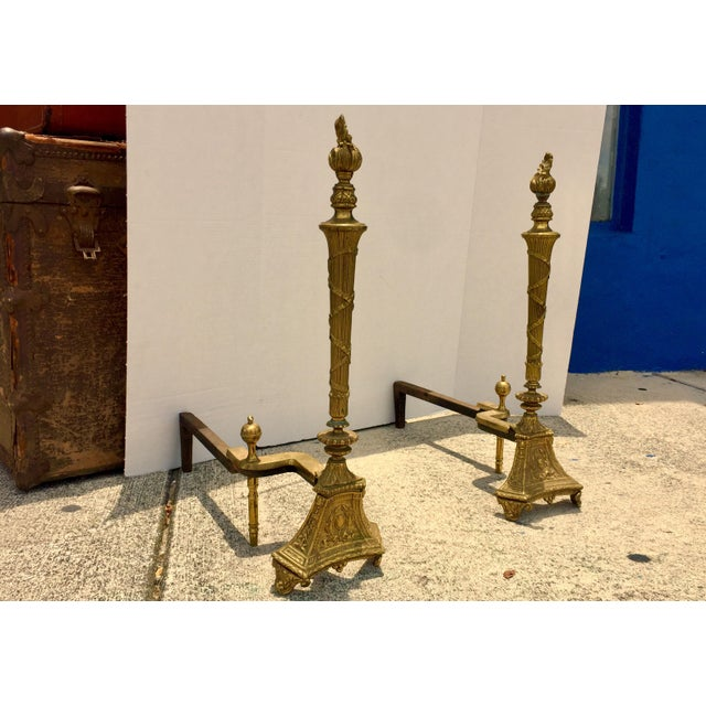 Antique Empire Brass Andirons - A Pair - Image 3 of 11